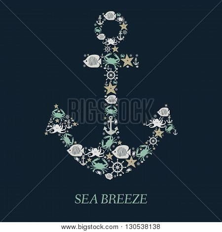 Icon Sea anchor. Nautical anchor helm sea creatures on an isolated black background. Sea animals Crabs fish octopi. Elements and icons for cards illustration poster and web design