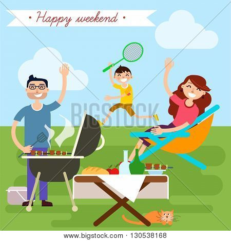 Family Weekend. Barbecue Party. Family on Vacation. Vector illustration