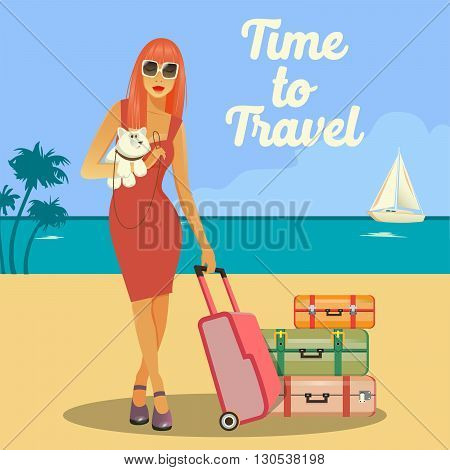 Woman Goes to Vacation. Woman with Baggage.  Vector illustration