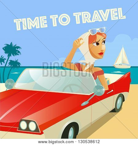 Time to Travel Banner. Woman in Cabriolet. Beach Vacation. Vector illustration