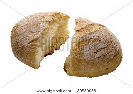 little bread broken on white table