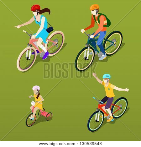 Isometric People. Isometric Bicycle. Family Cyclists. Vector illustration