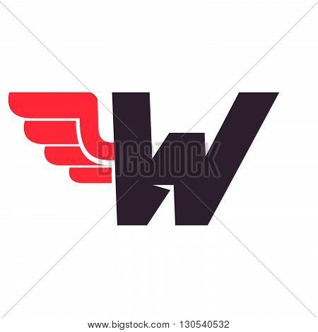 W Letter With Wing Logo Design Template.