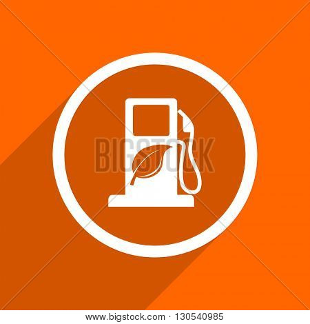 biofuel icon. Orange flat button. Web and mobile app design illustration