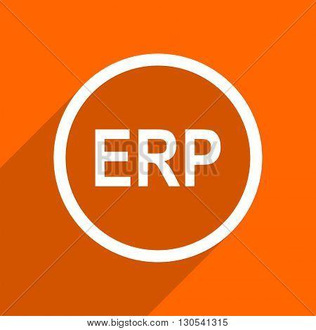 erp icon. Orange flat button. Web and mobile app design illustration