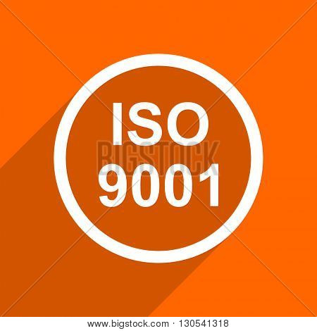 iso 9001 icon. Orange flat button. Web and mobile app design illustration