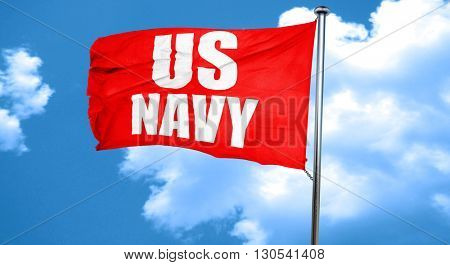 us navy, 3D rendering, a red waving flag