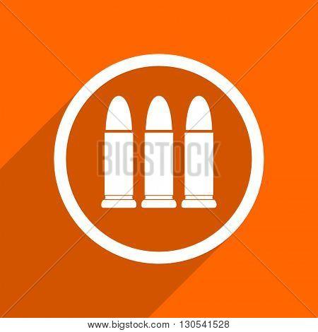 ammunition icon. Orange flat button. Web and mobile app design illustration