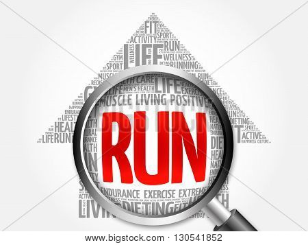 Run Arrow Word Cloud With Magnifying Glass