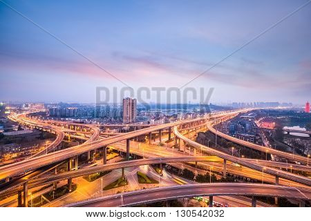 nanjing city interchange in nightfall road junction of urban expressway background China