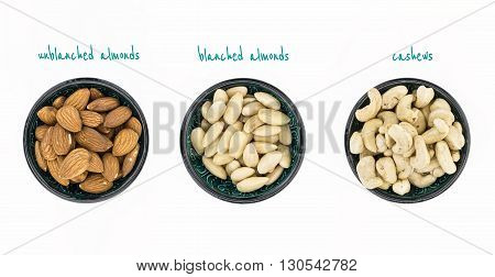 Unblanched Almonds, Blanched Almonds And Cashews In Bowls, On White Background