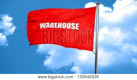 warehouse, 3D rendering, a red waving flag
