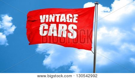 vintage cars, 3D rendering, a red waving flag