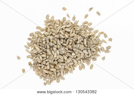 Heap Of Hulled Sunflower Seeds, On White Background