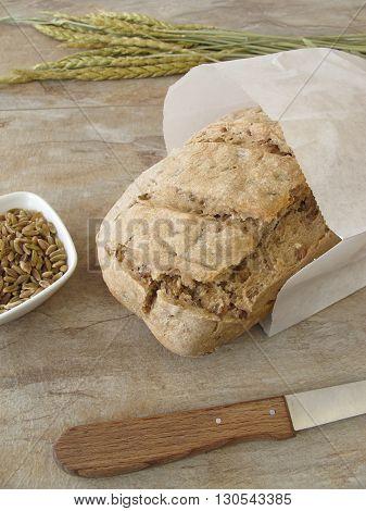 Homemade green spelt bread in paper bag