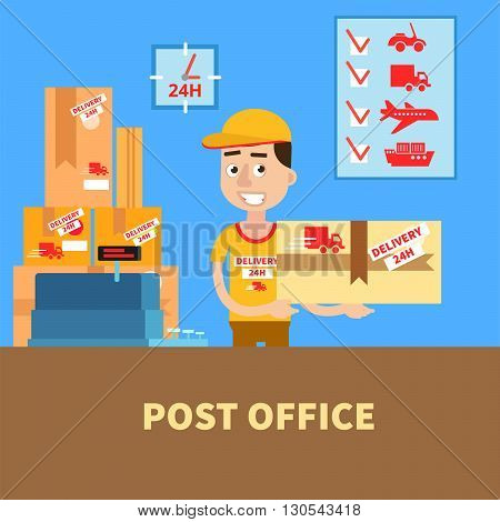 Post Office. Postman with the Parcel. Postal Service. Vector illustration