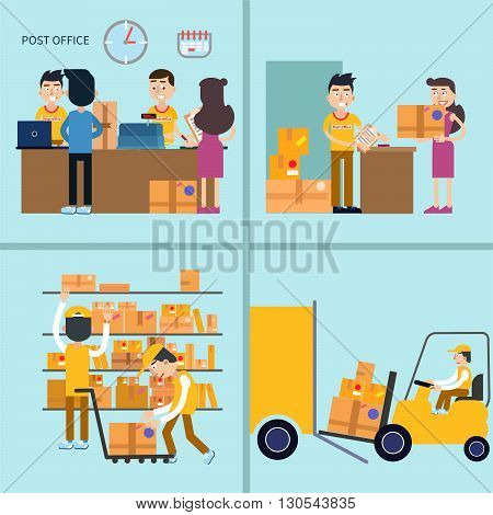 Post Office. Woman Receiving Parcel. Postal Service. Vector illustration