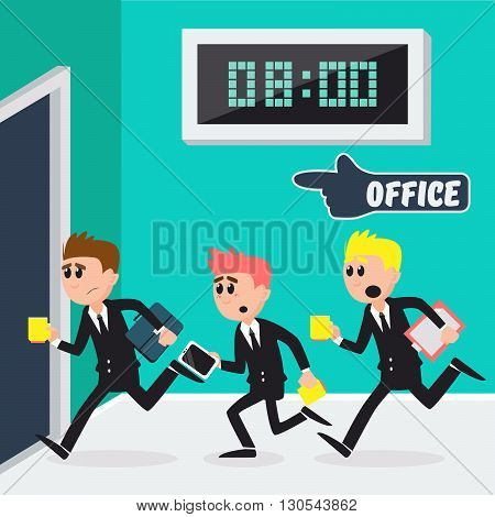 Workers Running to Office. Businessmen Going to Work. Vector illustration