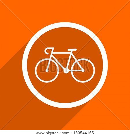 bicycle icon. Orange flat button. Web and mobile app design illustration