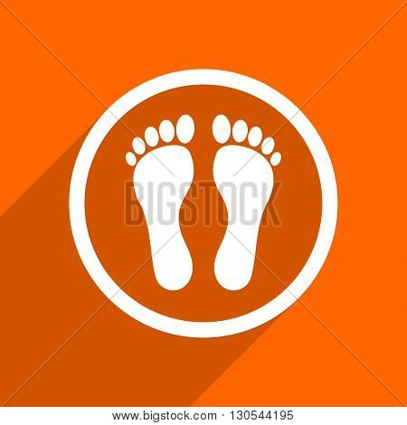 foot icon. Orange flat button. Web and mobile app design illustration