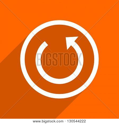 rotate icon. Orange flat button. Web and mobile app design illustration