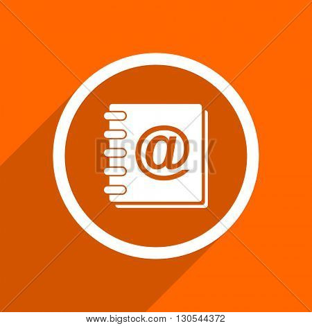 address book icon. Orange flat button. Web and mobile app design illustration