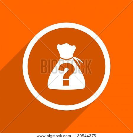 riddle icon. Orange flat button. Web and mobile app design illustration