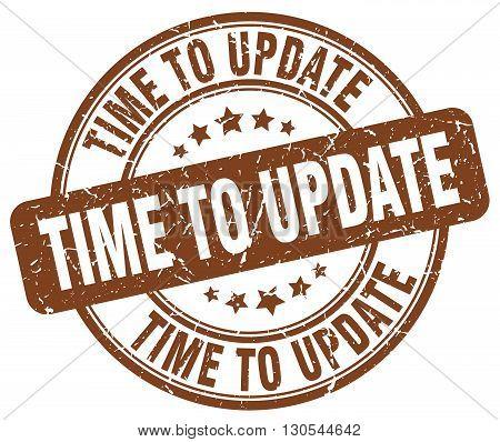 time to update brown grunge round vintage rubber stamp