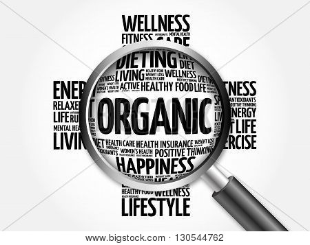 Organic Word Cloud With Magnifying Glass