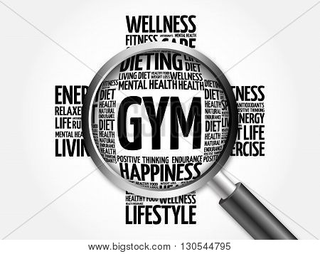 Gym Word Cloud With Magnifying Glass