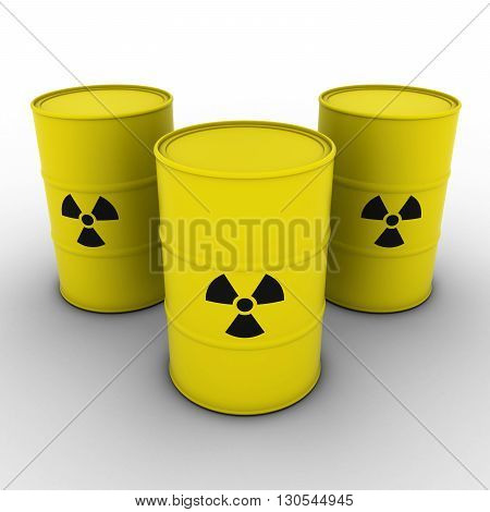 Yellow Radioactive Waste Barrels Background 3D Illustration