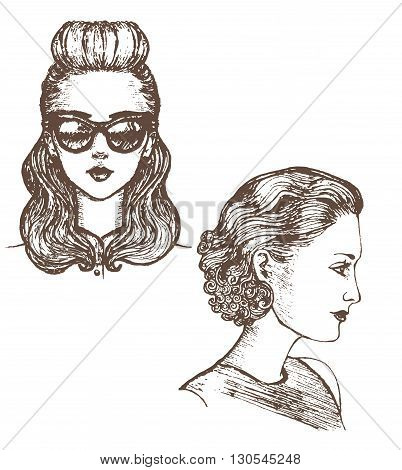 vector hand-drawn illustration of girls with retro hairstyle