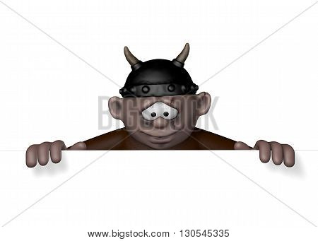 cartoon viking character with helmet - 3d illustration