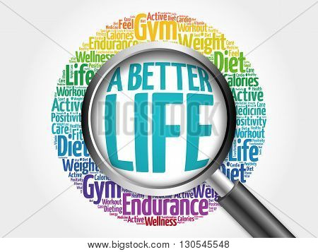 A Better Life Word Cloud With Magnifying Glass