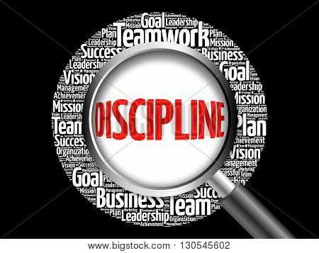 Discipline Word Cloud With Magnifying Glass