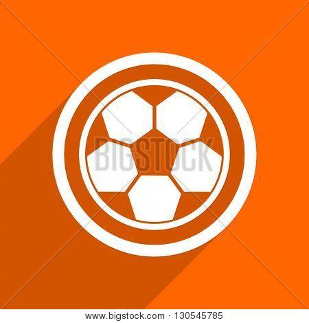 soccer icon. Orange flat button. Web and mobile app design illustration