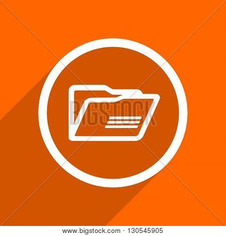 folder icon. Orange flat button. Web and mobile app design illustration