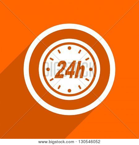 24h icon. Orange flat button. Web and mobile app design illustration