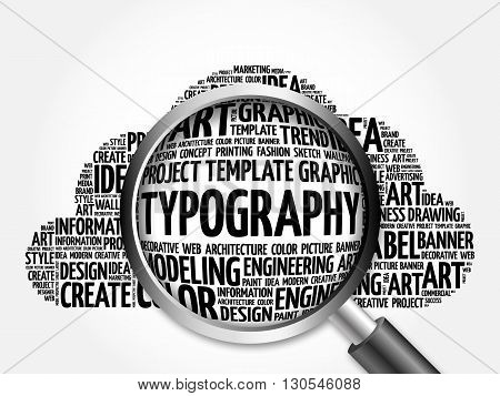 Typography Word Cloud With Magnifying Glass