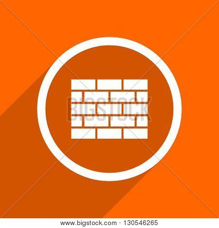 firewall icon. Orange flat button. Web and mobile app design illustration