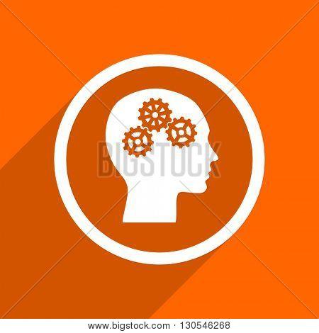 head icon. Orange flat button. Web and mobile app design illustration