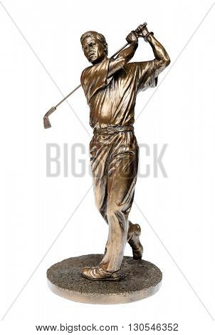 Brass golfer statue isolated on white with clipping path.