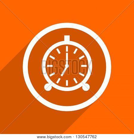 alarm icon. Orange flat button. Web and mobile app design illustration