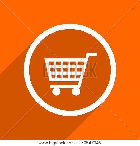 cart icon. Orange flat button. Web and mobile app design illustration