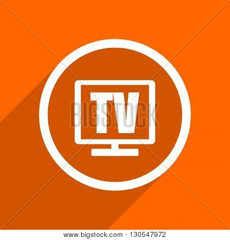 tv icon. Orange flat button. Web and mobile app design illustration