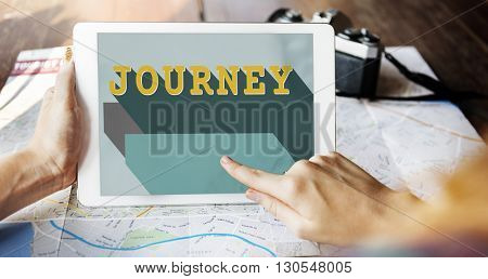 Journey Word Graphic Tablet Concept