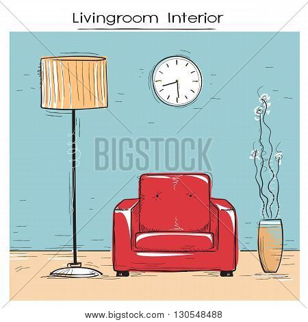 Sketchy Illustration Of Livingroom Interior With Red Chair.vector Color Hand Drawing Image