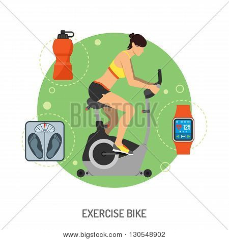 Fitness, Cardio, Healthy Lifestyle Concept for Mobile Applications, Web Site, Advertising with Exercise Bike, Scales and Tracker Icons.