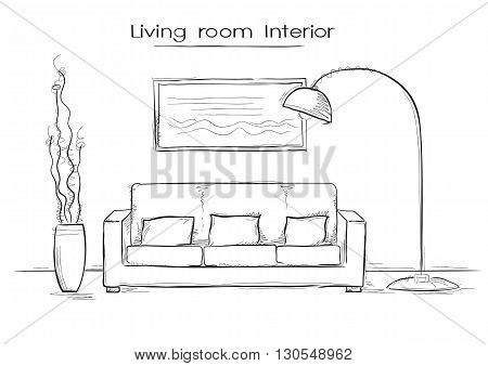 Sketchy Illustration Of Living Room Interior.vector Hand Drawing Coach And Lamp