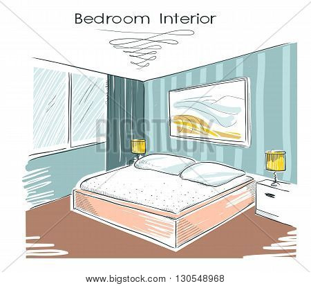 Sketchy Color Illustration Of Bedroom Interior.vector Hand Drawing Image